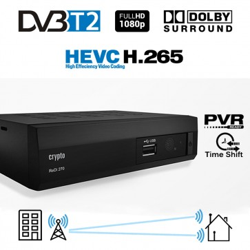 CRYPTO DVB-T2 RECEIVER [ReDi 270P] HEVC H.265 HD with Dolby, W007046, by CRYPTO
