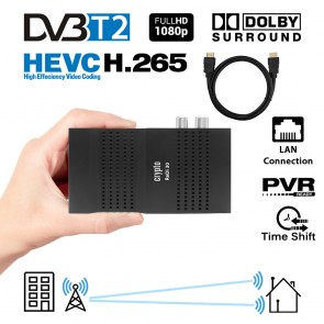 CRYPTO DVB-T2 RECEIVER [ReDi 30PH] HEVC FHD Dolby with HDMI Cable, W007205,